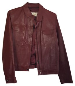 Les Filos Leather Dark Red Leather Jacket