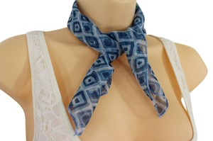 Other Women Unique Blue Small Neck Scarf Fabric Geometric Square Print Pock