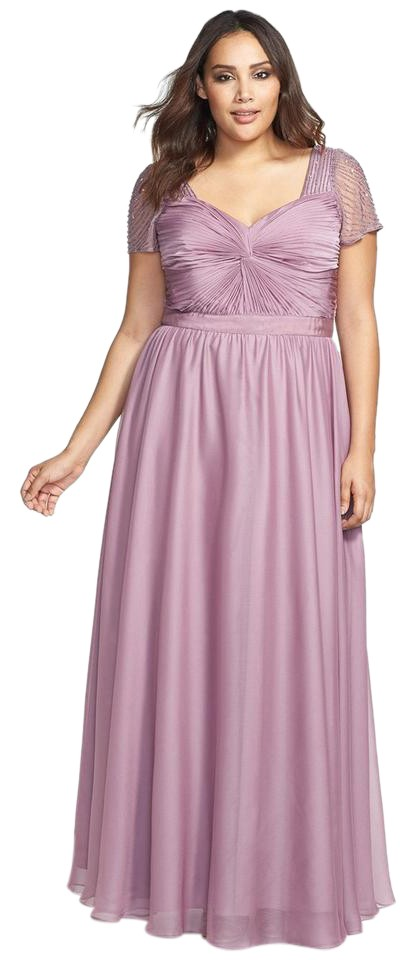 Adrianna Papell Mauve Beaded Flutter Short Sleeve Gown Long Formal ...