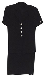 Albert Nipon Albert Nippon Classic Black Textured Jacket with White Buttons and matching Skirt Suit