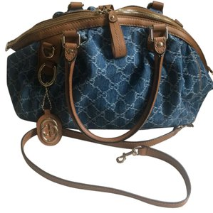 Gucci Satchel in distress denim / brown
