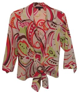 Lafayette 148 New York Button Down Shirt ivory background with Coral, Pink, Brown & Lime Green Designer Print