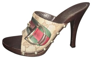 Gucci Platform Clog Heels Brown, Gold buckle, Red & Green Mules