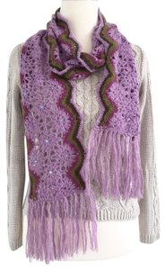 Betsey Johnson Crochet Fringed Knit Scarf