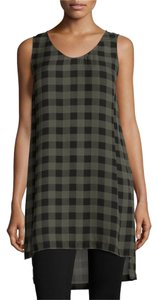 Eileen Fisher Silk Plaid High-low Top Green/Black