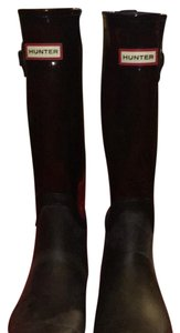 Hunter black with clear burgundy tops Boots