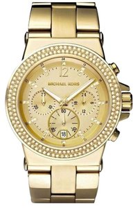 Michael Kors NWT Dylan Glitz Gold Tone Oversized Watch MK5386