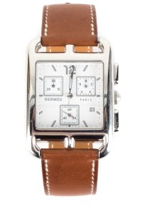 Hermès Hermes Brown Leather And Stainless Steel Cape Cod Chrono Watch