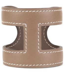 Hermès Hermes Taupe Leather Ano Wrap Cuff Bracelet