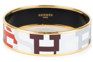 Hermès Hermes Multi Color Logo Motif Wide Enamel Bangle Bracelet