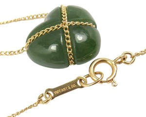 Tiffany & Co. Vintage Tiffany & Co 18K Yellow Gold Green Jade Heart Necklace w/pouch