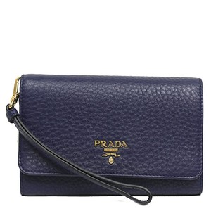 Prada Prada Portafoglio Vitello Grain Leather Navy Blue Wristlet Wallet