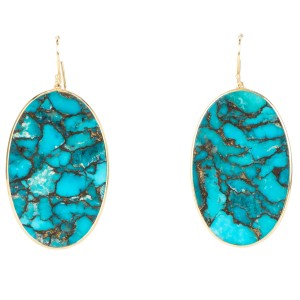 Ippolita Ippolita Bronze Turquoise Doublet Oval Slice Earrings