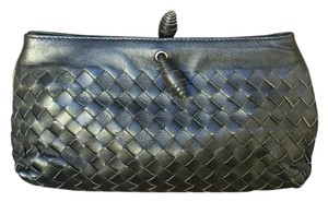 Bottega Veneta Woven Leather Handbag Black Clutch