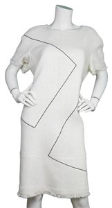 Chanel short dress Ivory and black Shift Woven Pearlized Patent on Tradesy