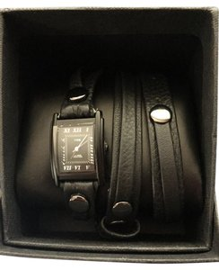 La Mer NWT La Mer Black Leather Wrap Watch