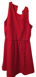 Piperlime short dress Red Scalloped on Tradesy