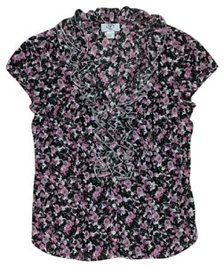 Ann Taylor LOFT Cotton Casual Button Down Shirt Pink, Black, White