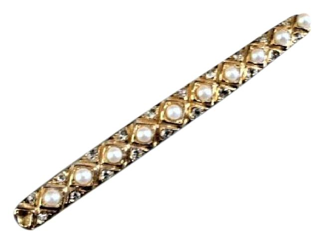 Item - Pearl Goldtone Rhinestone Bar Brooch