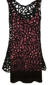 Betsey Johnson short dress Black Lace with Pink under slip Pleated Designer on Tradesy