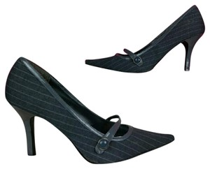 Dollhouse Pointed Toe Pinstripe Heels Gray, White Pumps