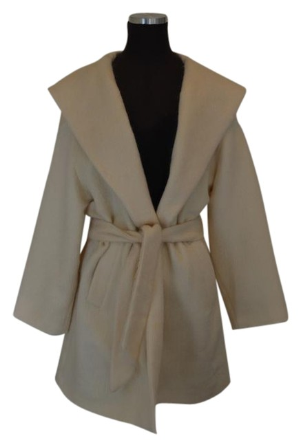 Item - Cream Vintage Mohair Hooded Coat Size 6 (S)