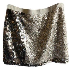 J.Crew Sequin Mini Classic Sparkle Mini Skirt Sliver and white