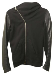Rick Owens Drkshdw Hood Leather Sleeves Sweatshirt