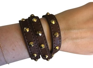 Treesje Leather Wrap with Gold Studs