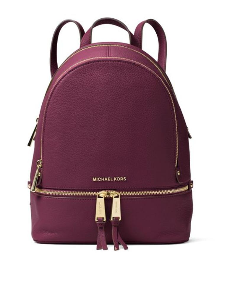70b335463ca7 Michael Kors Rhea Zip Small School Travel Plum Leather Backpack ...