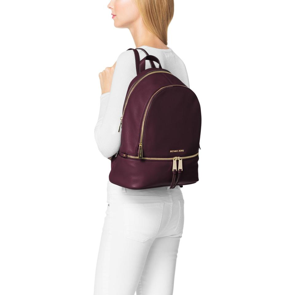32cdaf582d662 Michael Kors Rhea Zip Small School Travel Plum Leather Backpack - Tradesy