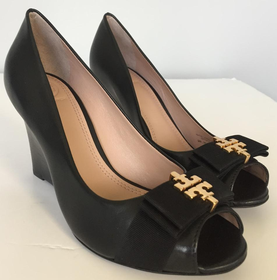 6da4d00a357 Tory Burch Black Sedgewick 85mm Open Toe Glossy North Leather Wedges Size  US 8.5 Regular (M