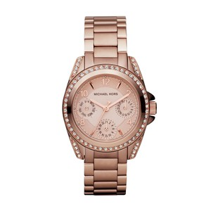 Michael Kors Rose Gold-Tone Stainless Steel Chronograph Watch