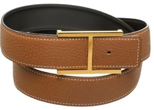 Herms Hermes gold and black leather thin H buckle belt (size 80)