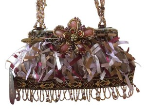 Mary Frances Rare Reired Beading Ribbons Lace Purple/pink/gold Clutch