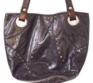 Fossil Leather Patent Leather Simple Chic Tote in Black