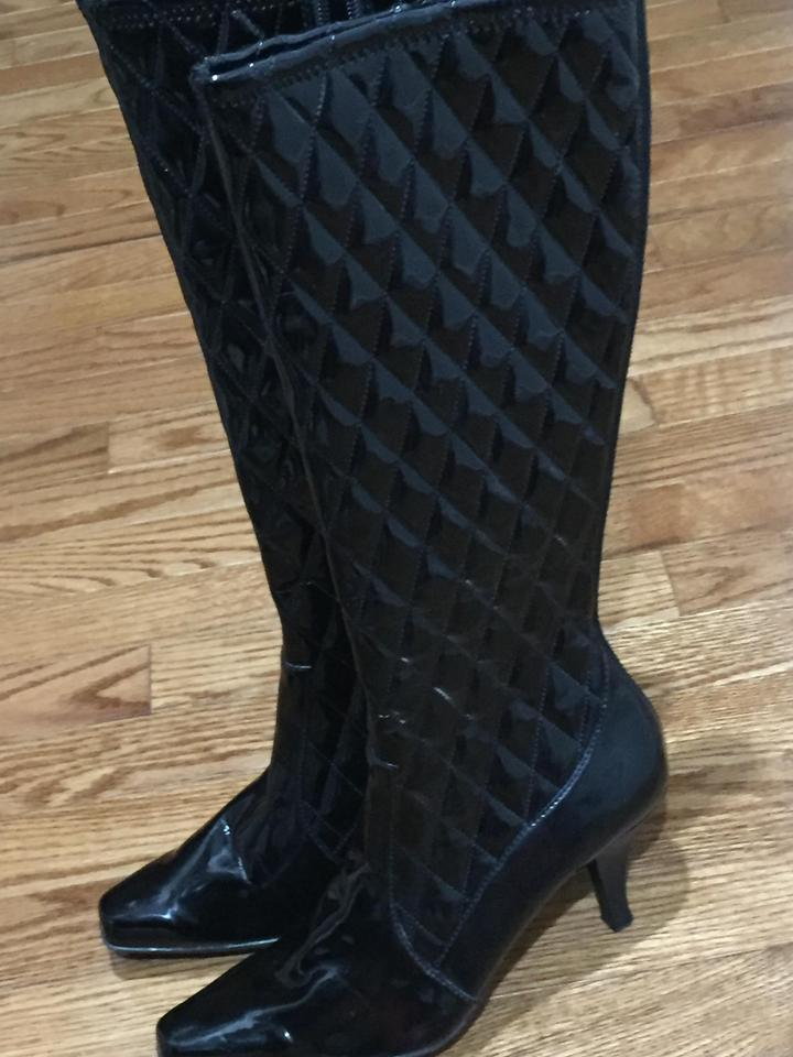 f996a9d1e201 Franco Sarto Black Patentleather Quilted Tall Boots Booties Size US ...