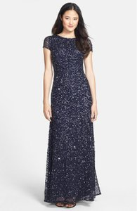 Adrianna Papell Navy Scoop Back Sequin Gown Style# 09187460 Dress