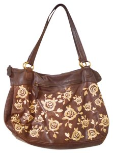 Anthropologie Unique Leather Embroidered Satchel in Brown