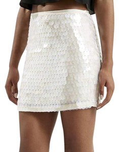 Topshop Iridescent Sequin Iridescent Mini Skirt white