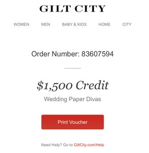 $1500 Wedding Invitation + Paper Goods Credit (fast Email Delivery)