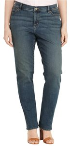 Lauren Ralph Lauren Designer Plus Size New With Tags Classic Fit Straight Leg Jeans-Dark Rinse