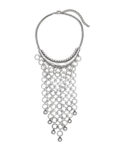 Chico's Silver bib necklace charmed w/faceted rhinestone crystals.