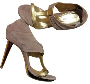 Sergio Rossi gold leather straps and nude suede Formal