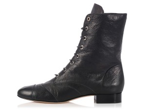 Chanel Ch.k1208.18 Short Ankle Lace Up Cap Toe Boots