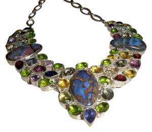 Silver Co. Multi Gemstones Statement Silver Necklace