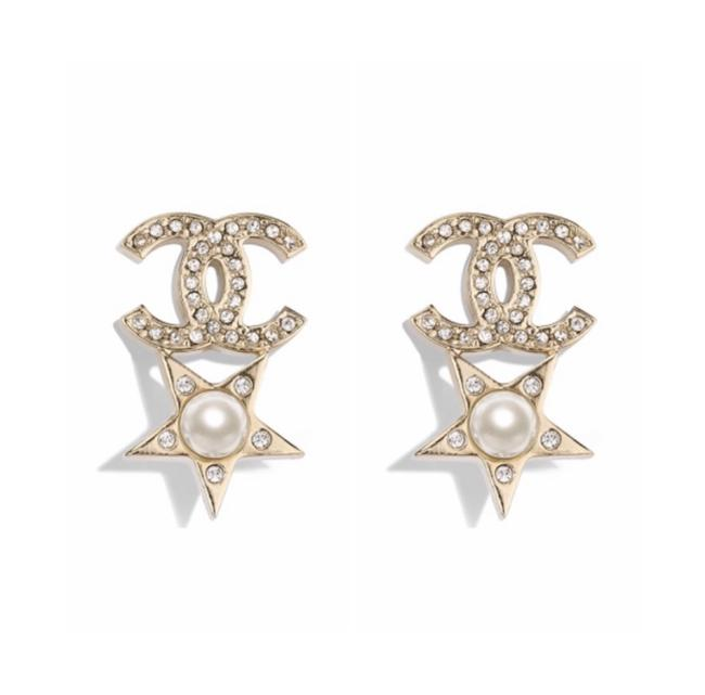 Item - Gold Cc Logo Moscova Earrings Star Drop with Pearls Necklace