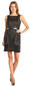 ivy + blu short dress Black Perforated Belted Square on Tradesy