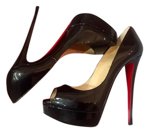 Christian Louboutin Ladypeeps Patentleather Peeptoe Stiletto Patent Black Pumps