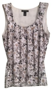 White House | Black Market Top Black, Mocha, Gray and White floral pattern